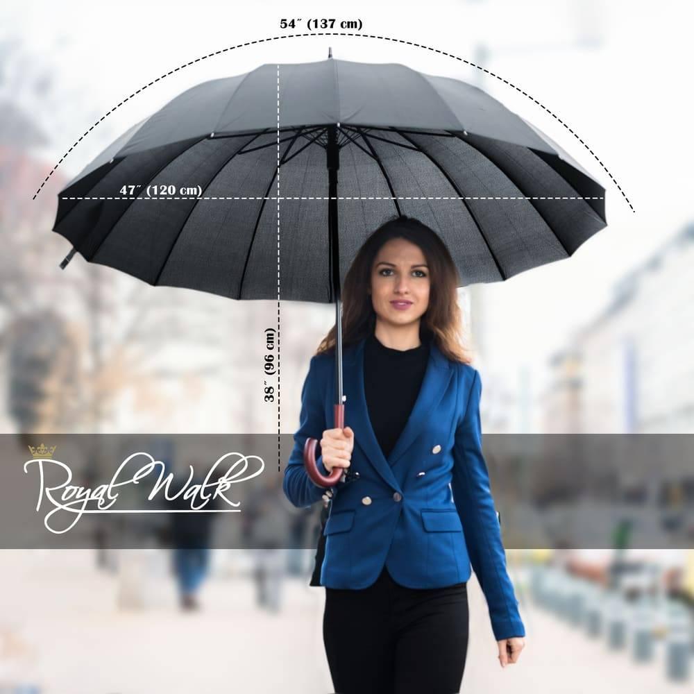 Голям дамски чадър за дъжд луксозна серия Royal Walk