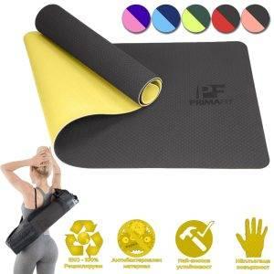 Постелка за фитнес упражнения и йога жълта