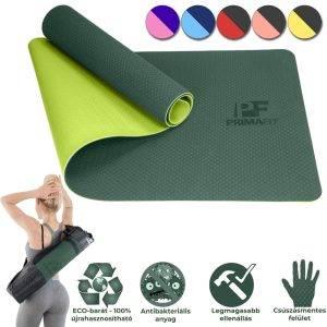 Йога постелка за фитнес упражнения зелена качествена, здрава и антибактериална