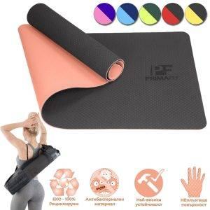 Постелка за упражнения, йога и фитнес - оранжев - сьомга 1
