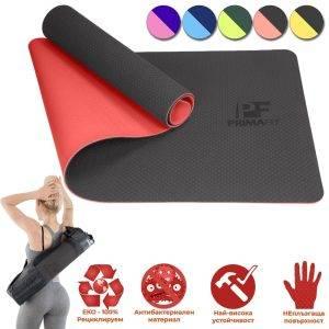 Постелка за фитнес упражнения и йога - екологична, антибактериална, здрава и не се плъзга червена