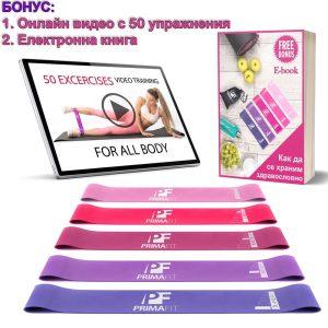 Фитнес ластици за тренировка комплект ластици 5 бр с видео с упражнения и електронна книга