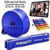 Фитнес ластици за тренировка с голямо съпротивление PrimaFIT видео с 111 упражнения за тренировка вкъщи оранжев тежък син