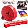Фитнес ластик за тренировка с голямо съпротивление PrimaFIT видео с 111 упражнения за тренировка вкъщи червен среден
