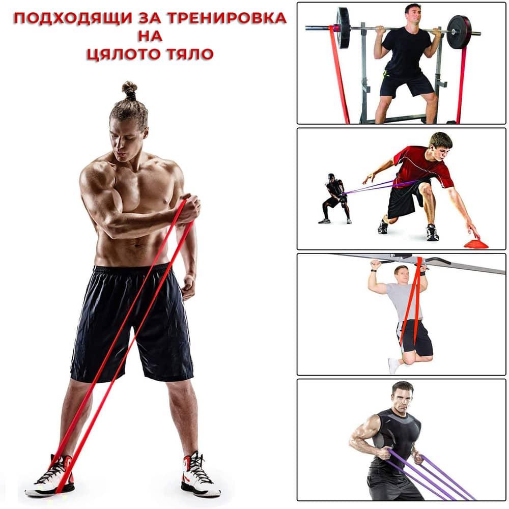 Ластици за фитнес PrimaFIT разнообразни упражнения и тренировки с ластици