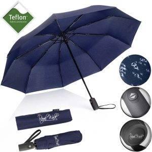 Автоматичен сгъваем мъжки чадър за дъжд със здрава конструкция и непромокаемост плат, син5