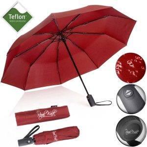 Автоматичен сгъваем дамски чадър за дъжд със здрава конструкция и непромокаемост плат, червен 5