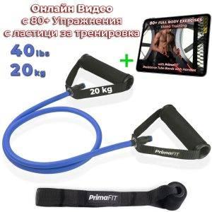 Фитнес ластик за тренировка с дръжки - 5 степени на съпротивление и видео с упражнения с ластици - син