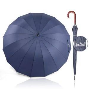 луксозен мъжки чадър за дъжд - голям, здрав и удобен син 3