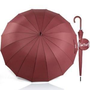 здрав луксозен дамски чадър за дъжд - голям диаметър 16 спици и дървена дръжка